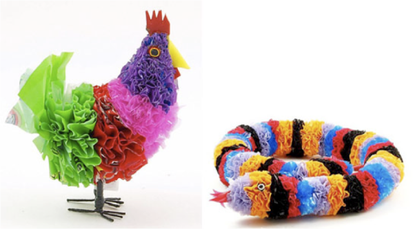 Recycled Plastic Bag Animals  (available for purchase at WOW Imports, or better yet, create your own!)