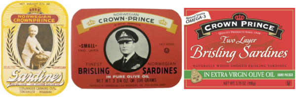 Comparison of 3 Crown Prince product labels, two historic and one modern